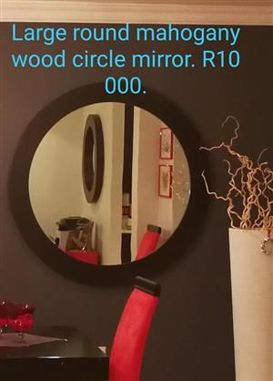Large round mahogany wood circle mirror
