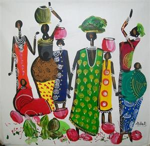 African Theme Paintings for Sale