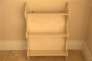 Wooden Shaker shelf cream wash wall hung