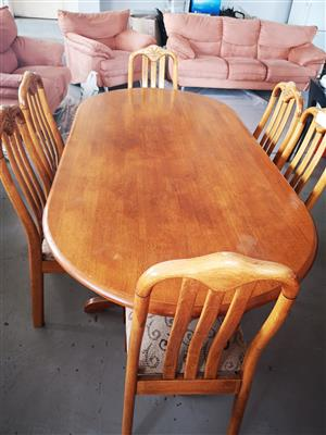 6 seater oak dining set side table