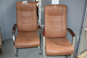 Beige leather high back office chairs ...
