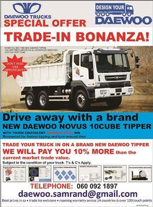 NEW DAEWOO NOVUS  K5DEF  3434 15 Ton  Tipper