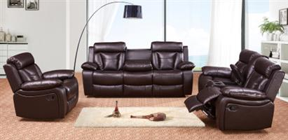 PERILLI 6 Piece, 5 Recliner Suite In Air-Leather. Model 8005.