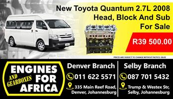 Toyota Quantum 2.7L Head, Block And Sub Assembly New For Sale