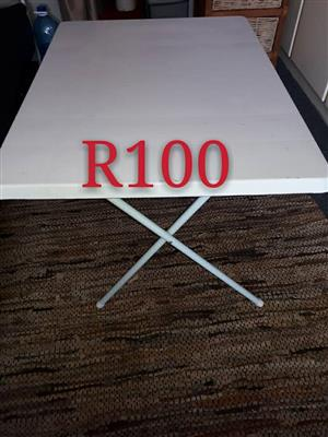 White steel fold up table