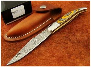 Handmade Damascus Steel Folding Knife 21.75 cm