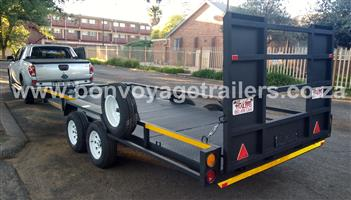 DOUBLE AXLE PLATE FLOOR CAR TRAILERS FOR SALE