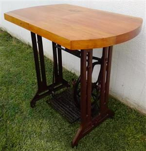 """Very old unusual server table with """"Singer"""" cast iron base and Oregon top"""