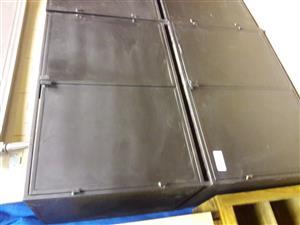 Steel And Wood Black Cupboards