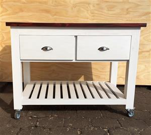 Kitchen Island Chunky Cottage series 1200 mobile with drawers - Two toned