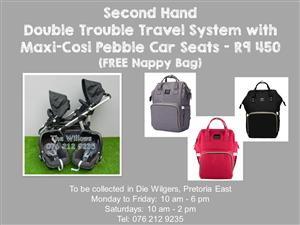 Second Hand Double Trouble Travel System with Maxi-Cosi Pebble Car Seats (FREE Nappy Bag)