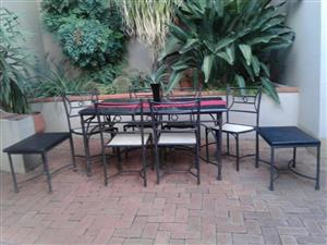 PATIO SET. WETHERLYS STEEL/ALUMINIUM FRAME TABLE WITH CONCRETE COMPOSITE TOP, 6 x RATTAN CHAIRS & SIDE TABLE