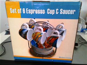 BRAND NEW @ 1/2 THE PRICE - SET OF 6 ESPRESSO CUPS & SAUCERS