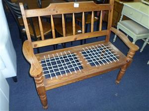 Wooden 2 Seater Riempies Bench