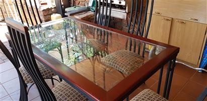 7 pc Dining set / Cast Iron, Cherrywood & glass