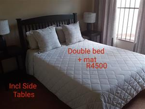 Double bed set with mat for sale