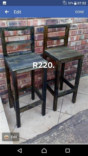 2 Pallet high bar chairs for sale
