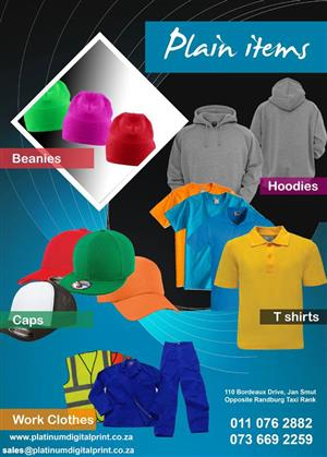 HOODIES, WORKWEAR, GOLF T SHIRTS, CAPS, SWEATERS AND PRINTING SERVICES CALL 0110762882