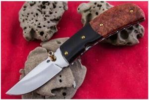 Handmade Stainless Steel Folding Pocket Knife Ormosia Burl wood handle scales