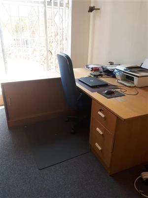 L-Shape Office desk with filing cabinet.