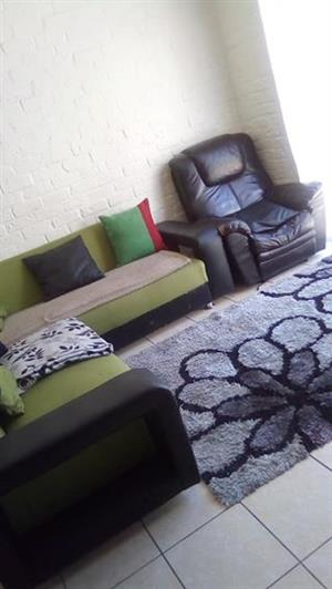 Urgent sale L shape couch,3barstools,Tvstand and Double bed.