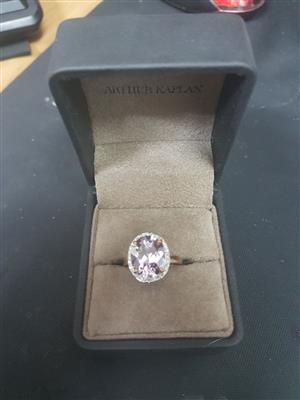 9ct rose gold ring set with oval amethyst (12x10) and 32x 1/2 ponter diamonds