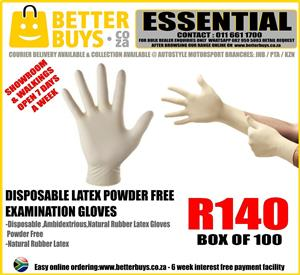 Disposable Latex Gloves Powder Free Examination Gloves box of 100