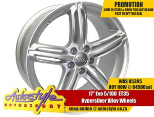 EVO 17 inch  5-100 ET35 Set of 4 brand new alloy rims