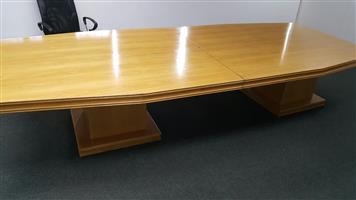 Oak finish boardroom table