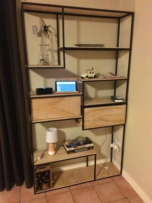 Display / Book Shelf: Steel frame with wooden draws