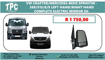 VW Crafter/Sprinter 309/515/8/9 Left Hand/Right Hand Complete Electric Mirror 06 - For Sale at TPC.