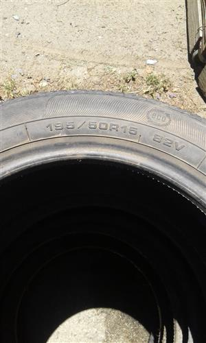 4 used 195/50R15 tyres for sale