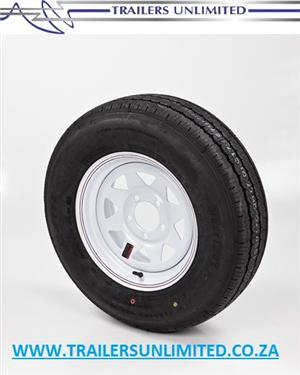 "TRAILER AND CARAVAN TYRES. 14"" RIM AND TYRE COMBO.   5 STUD - 114 PCD SPECIAL PRICE. R1085.50 EXCL."