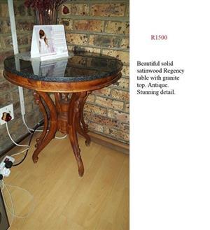 Satin wood regency table with granite top