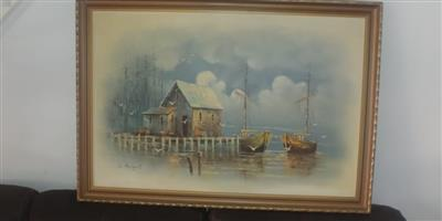 Oil painting in gorgeous frame L  Allies