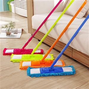 Various colored floor mops