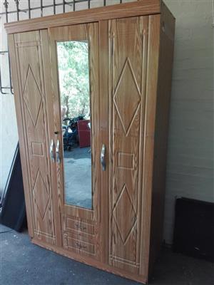 3 Door Wood Wardrobe For Sale – R1300