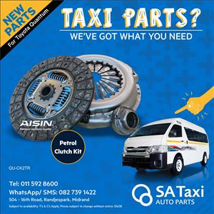 2TR Petrol CLUTCH KIT suitable for Toyota Quantum - SA Taxi Auto Parts quality spares