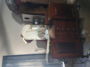 beautiful large ball and claw solid imbuia dresser with side mirrors
