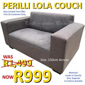 ​PERILLI LOLA 2 Seater Couch Suede or Chenille. R999. Very Limited Time Offer!