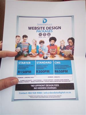 Own Website @ R150pm + 50 mail accounts