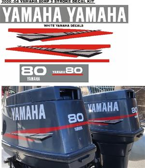 Yamaha 80 two stroke outboard motor cowl stickers decals vinyl cut graphics for sale  Cape Town - Atlantic Seaboard