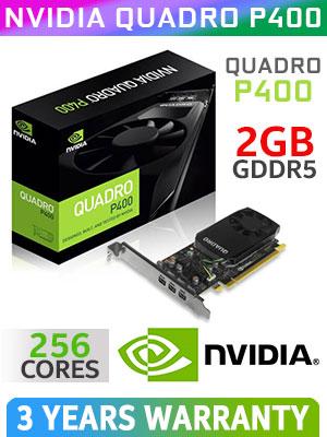 NVIDIA Quadro P400 2GB GDDR5 256 Cuda Core Workstation Graphics Card / Pascal GPU / PCI Express 3.0 / 30W Max Power