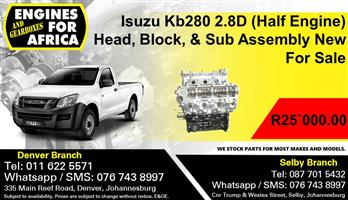 Isuzu Kb280 2.8D (Half Engine) Head, Block, & Sub Assembly New For Sale.