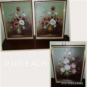 3 Flower paintings for sale