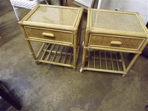 Contemporary cane bedside pedestals