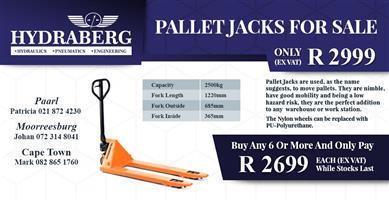 Pallet Trucks / Jacks for sale @ R2650 each ex vat