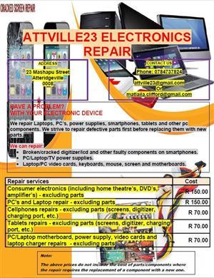 PC, Laptop, Power supplies, Cellphone repairs