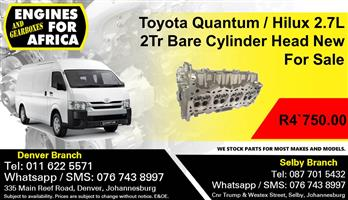 Toyota Quantum / Hilux 2.7L 2Tr Bare Cylinder Head New For Sale.
