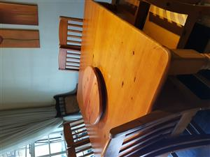 Solid pine square 8 seater with chairs